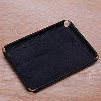 Leather catchall, 'Java Black' (6.5 inch) - Javanese Handcrafted 6.5 Inch Black Leather Catchall