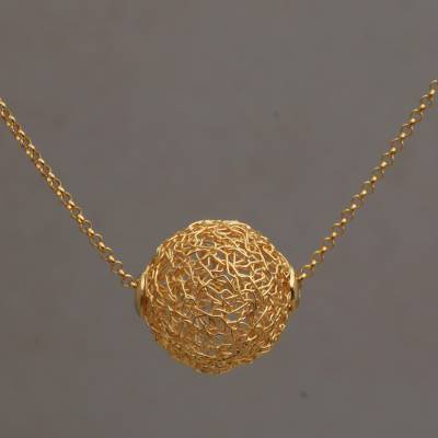 Gold plated pendant necklace, 'Round Nest' - 18k Gold Plated Sterling Silver Pendant Necklace