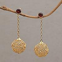 Gold plated garnet dangle earrings, 'Round Nest' - 18k Gold Plated Dangle Earrings with Garnets