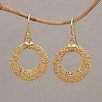 Gold plated dangle earrings, 'Tangled Rings' - Wire Mash Dangle Earrings in Gold Plated Sterling Silver