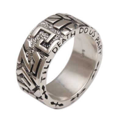 Men's band ring, 'Everlasting Romance' - Men's Sterling Silver Wedding Band Ring from Bali