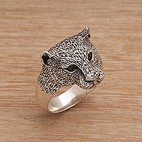 Men's garnet ring, 'Wildest Nature' - Men's Garnet and Sterling Silver Wild Cat Ring from Bali