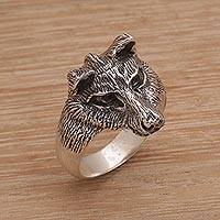 Men's sterling silver ring, 'Wolf's Gaze' - Men's Sterling Silver Wolf Ring from Bali