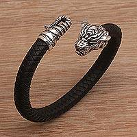 Men's sterling silver and leather cuff bracelet, 'Braided Tiger' - Men's Sterling Silver and Leather Tiger Bracelet from Bali