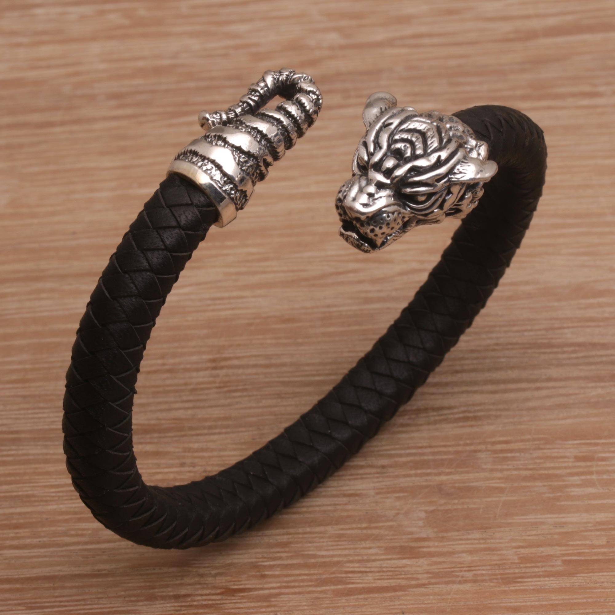 Men S Sterling Silver And Leather Tiger