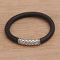 Men's sterling silver and leather wristband bracelet, 'Strength of a Dragon' - Men's Sterling Silver and Leather Wristband Bracelet