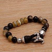 Men's sterling silver and bone beaded bracelet, 'Yoked Bull' - Men's Sterling Silver and Horn Bracelet from Bali