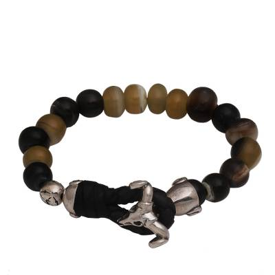 Men's sterling silver and horn beaded bracelet, 'Yoked Bull' - Men's Sterling Silver and Horn Bracelet from Bali
