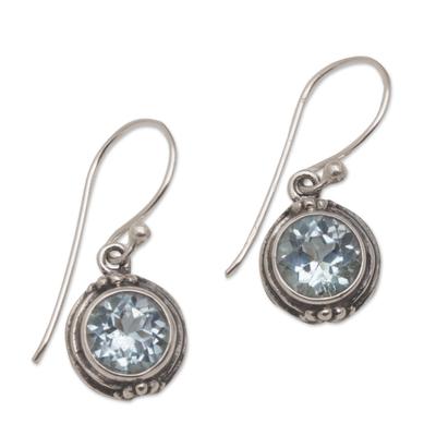 Blue topaz dangle earrings, 'Cool Radiance' - Three Carat Blue Topaz Dangle Earrings in Sterling Silver