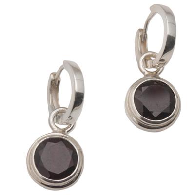 Garnet hoop earrings, 'Stoplight' - 2.5 Carat Garnet Hoop Dangle Earrings from Bali