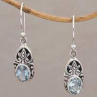 Blue topaz dangle earrings, 'Elegant Crown' - Ornate Blue Topaz and Silver Dangle Earrings