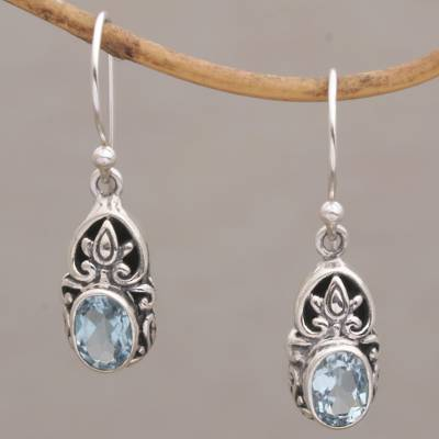 Blue topaz dangle earrings, Elegant Crown
