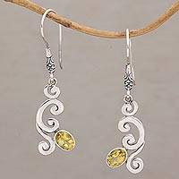 Citrine dangle earrings, 'View of Eden' - Citrine and Sterling Silver Balinese Dangle Earrings