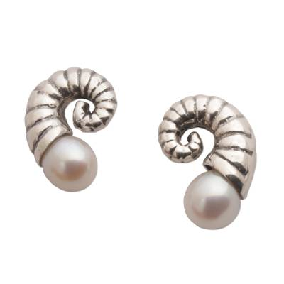 Cultured pearl button earrings, 'Ancient Ammonite' - Fossil Shaped Sterling Earrings with Cultured Pearls