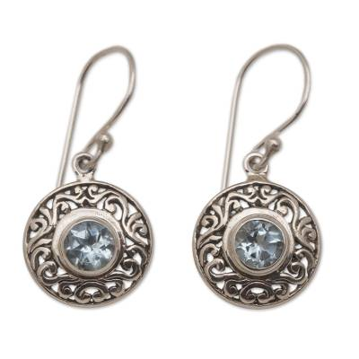 Round Sterling Silver Earrings with Blue Topaz Gems