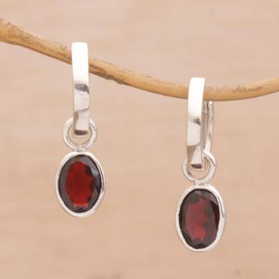 Garnet hoop earrings, 'Out of the Loop' - Versatile Garnet Hoop Earrings with Sterling Silver