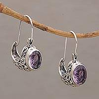 Amethyst drop earrings, 'Eternally Elegant' - Ornate Silver Drop Earrings with Oval Amethyst Gemstones