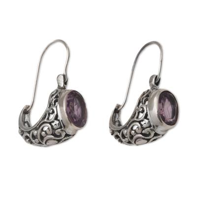 Amethyst drop earrings, 'Eternally Elegant' - Ornate Silver Drop Earrings with Oval Amethyst Gemstones