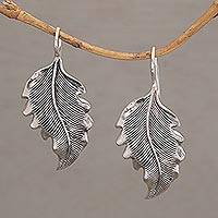 Sterling silver drop earrings, 'Germander Leaf' - Combination Finish Silver Leaf Drop Earrings