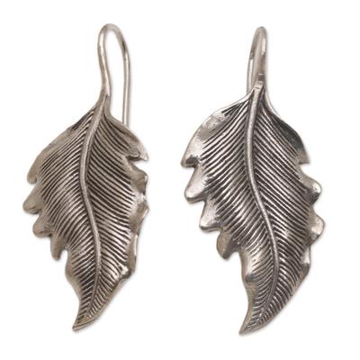 Sterling silver drop earrings, 'Germander Leaf' - Combination Finish Silver Leaf Drop Earrings