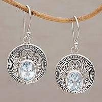 Blue topaz dangle earrings, 'Aqua Pura' - Three Carat Blue Topaz and Sterling Silver Earrings