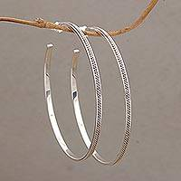 Sterling silver half-hoop earrings, 'Roped In' - Rope Motif Half Hoop Sterling Silver Earrings