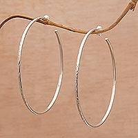 Sterling silver half-hoop earrings, 'Hammered Shine' - Large Polished Hammered Half-Hoop Silver Earrings