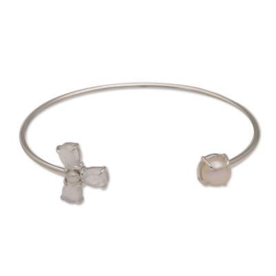 Feminine Rainbow Moonstone and Cultured Pearl Bracelet