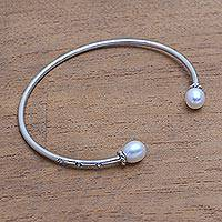 Cultured pearl cuff bracelet, 'Edge of Moonlight' - Cultured Pearl and CZ Cuff Bracelet from Bali