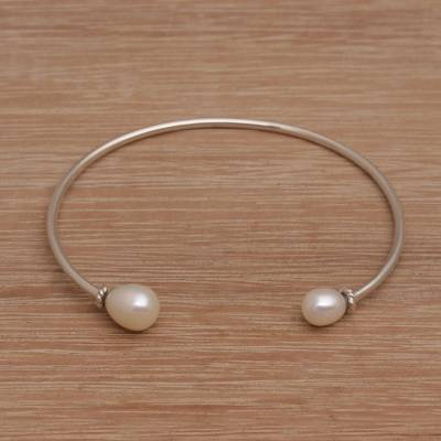Cultured pearl cuff bracelet, 'Moonlight Ends' - Cultured Freshwater Pearl Sterling Silver Cuff Bracelet