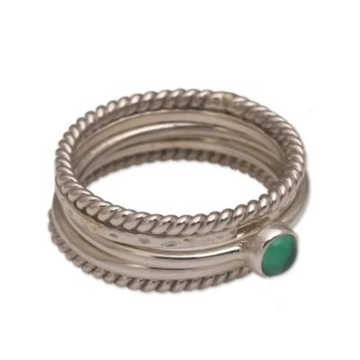 Sterling Silver and Green Agate Stacking Rings (Set of 5)