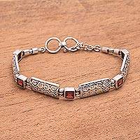 Garnet link bracelet, 'Wind and Fire' - Garnet Squares and Sterling Silver Blocks Link Bracelet