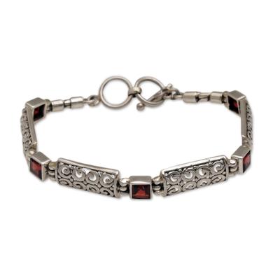 Garnet link bracelet, 'Wind and Fire' - Garnet Squares and Sterling Silver Blocks Link Bracelet