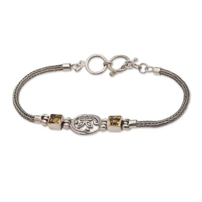 Citrine pendant bracelet, 'Celuk Petals' - Sterling Silver and Citrine Pendant Style Bracelet