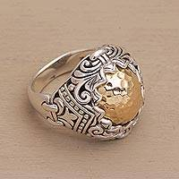 Gold accent sterling silver cocktail ring, 'Altar Gift'