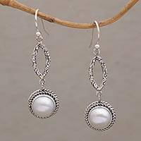 Cultured pearl dangle earrings, 'Balanced Elements' - Sterling Silver and Cultured White Pearl Dangle Earrings