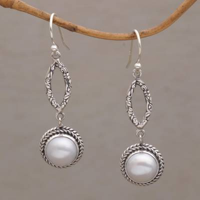 Cultured Pearl Dangle Earrings Balanced Elements Sterling Silver And White