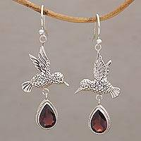 Garnet dangle earrings, 'Hummingbird Drops' - Hummingbird-Shaped Garnet Dangle Earrings from Bali