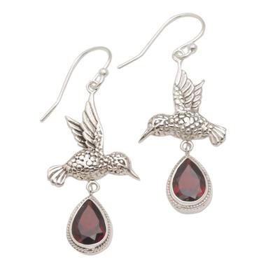 Garnet dangle earrings, 'Hummingbird Drops' - Hummingbird-Shaped Garnet Dangle Earrings from Bali