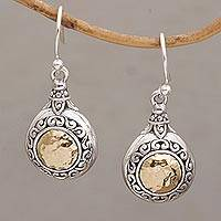 Gold accented sterling silver dangle earrings, 'Temple Charms'