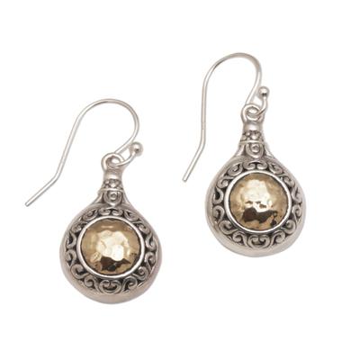 Gold accented sterling silver dangle earrings, 'Temple Charms' - Gold Accented Sterling Silver Dangle Earrings from Bali