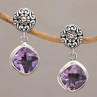 Gold accent amethyst dangle earrings, 'Hidden Vines' - Gold Accent Amethyst Dangle Earrings from Bali