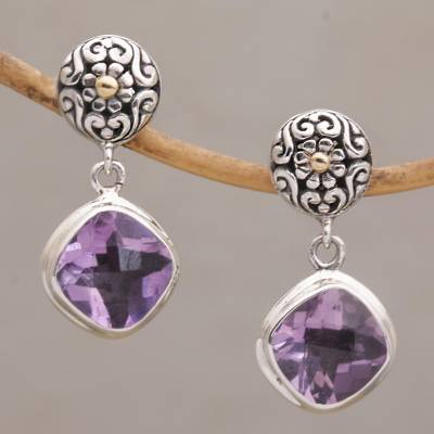 Novica Gold accented amethyst dangle earrings, Miracle