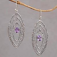 Amethyst dangle earrings, 'Illusive Eyes' - Amethyst and Sterling Silver Dangle Earrings from Bali