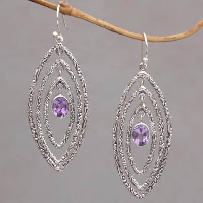 Amethyst dangle earrings, Illusive Eyes