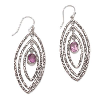 Amethyst dangle earrings, 'Illusive Eyes' - Amethyst and Sterling Silver Dangle Earrings from Bali