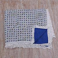 Batik cotton beach blanket, 'Blue Song' - Blue and White Beach Blanket and Towel in Cotton