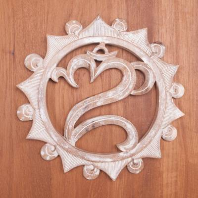 Wood relief panel, 'Om Aura' - Om Symbol Whitewashed Wood Wall Relief Panel