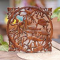 Wood relief panel, 'Ocean World' - Ocean Themed Wood Wall Relief Panel from Bali