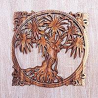 Wood relief panel, 'Beringin Tree' - Natural Finish Wood Wall Art Relief Panel of Tree